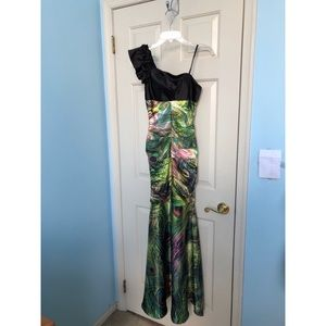 Unique Peacock Printed Prom Dress, One Shoulder